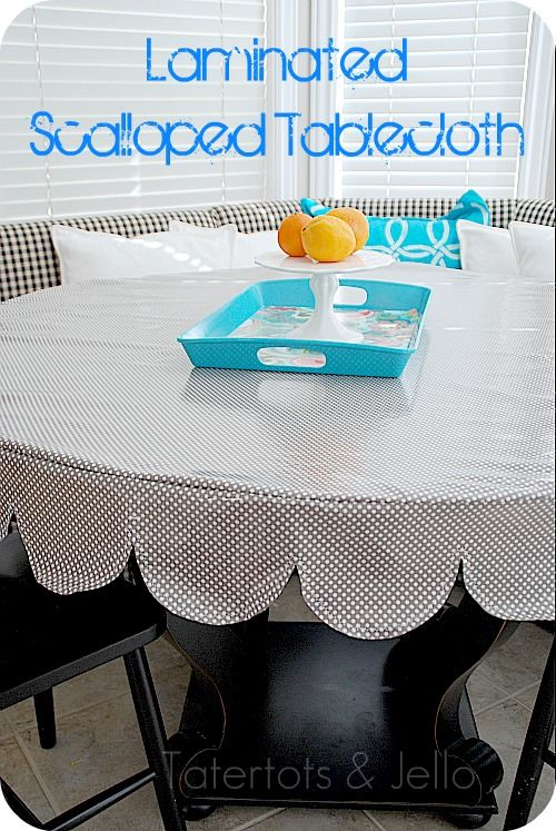 I Love The Scallops On This Tablecloth And With Laminated Fabric