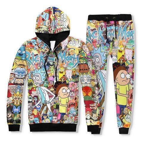 79edfe0e36b5 2 Piece Set Men Casual Tracksuits 3D Print Rick and Morty Fashion Hoodies  Hooded+Pants