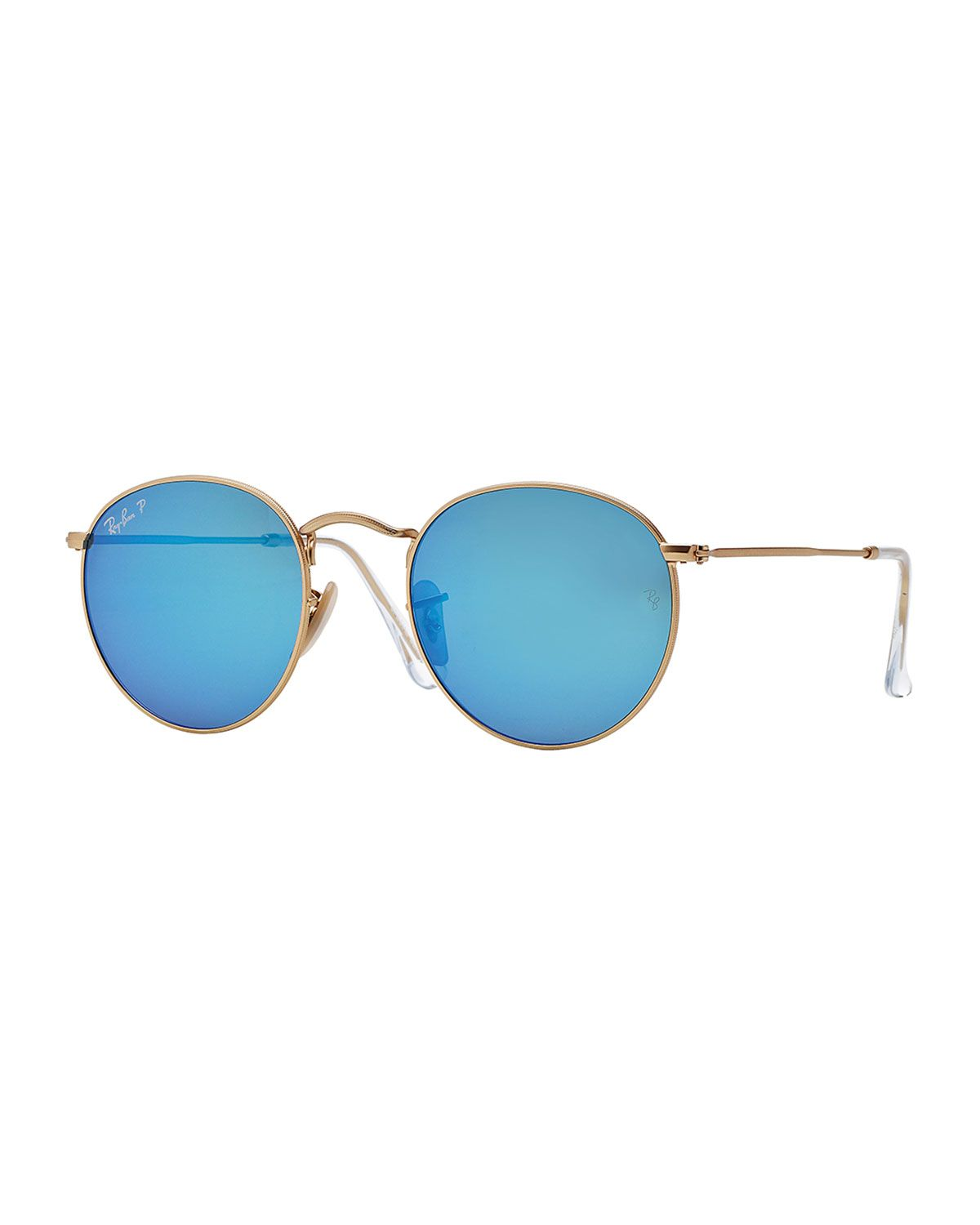 c313f6995ff8d Ray-Ban Polarized Round Metal-Frame Sunglasses with Blue Mirror Lens