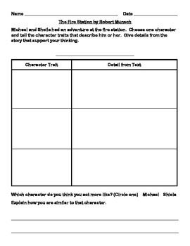Explore character traits with a fabulous Robert Munsch story!  Use this graphic organizer for cooperative learning or to model with the whole group. Focus on providing evidence from the story to support student ideas.