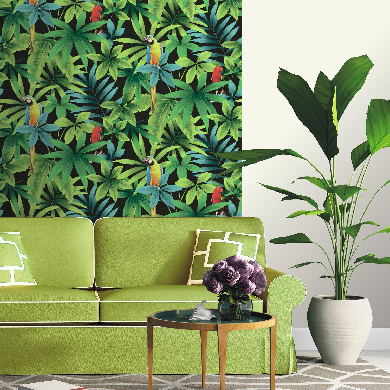 papier peint motif jungle en vert for t chez leroy merlin 9 rouleau shopping papier. Black Bedroom Furniture Sets. Home Design Ideas