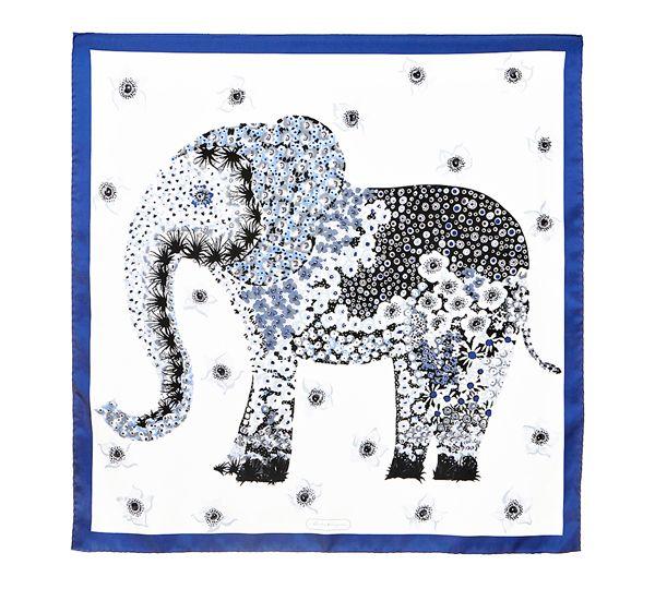 Mosaic Floral Elephant Print Scarf   Salvatore Ferragamo