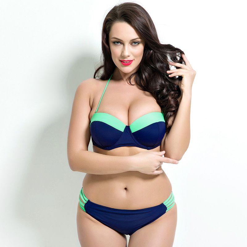 f22ec8f8ea72c 2016 Plus Size Bikini Women Ladies Sexy Retro Padded Push Up Bikinis Set  Swimwear Patchwork Swimsuit Bathing Suit For Big Bust-in Bikinis Set from  Sports ...