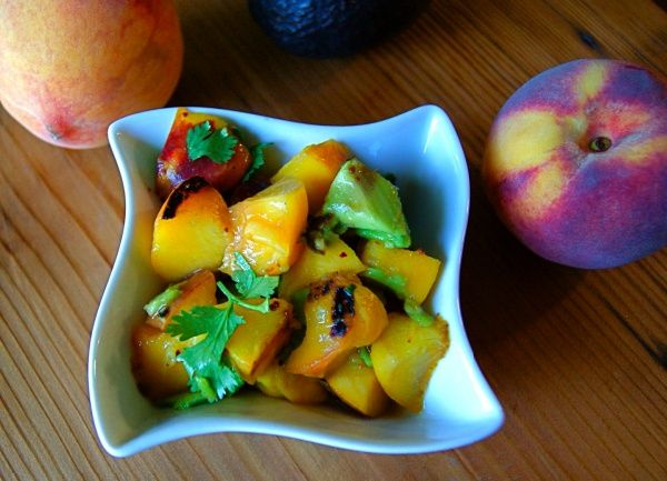 Grilled Peach and Avocado Salsa, an easy condiment for grilled fish or chicken