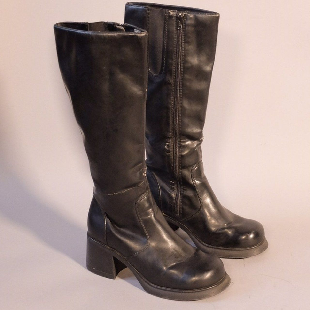 2f92b1b96ba Midnight Platforms 90s High Rise Knee High Platform leather - Depop