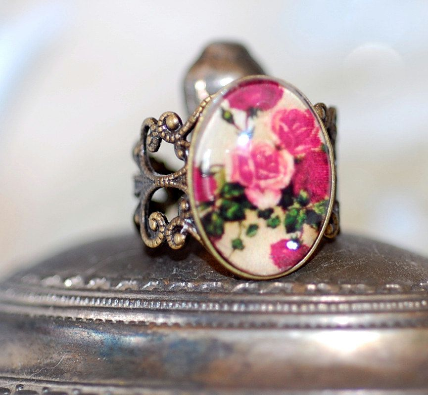 Ring  rose flowers glass jewel  cameo Black White Gothic goth SHabby Chic  Antiqued Brass romantic cute sweet girl retro. $20.00, via Etsy.