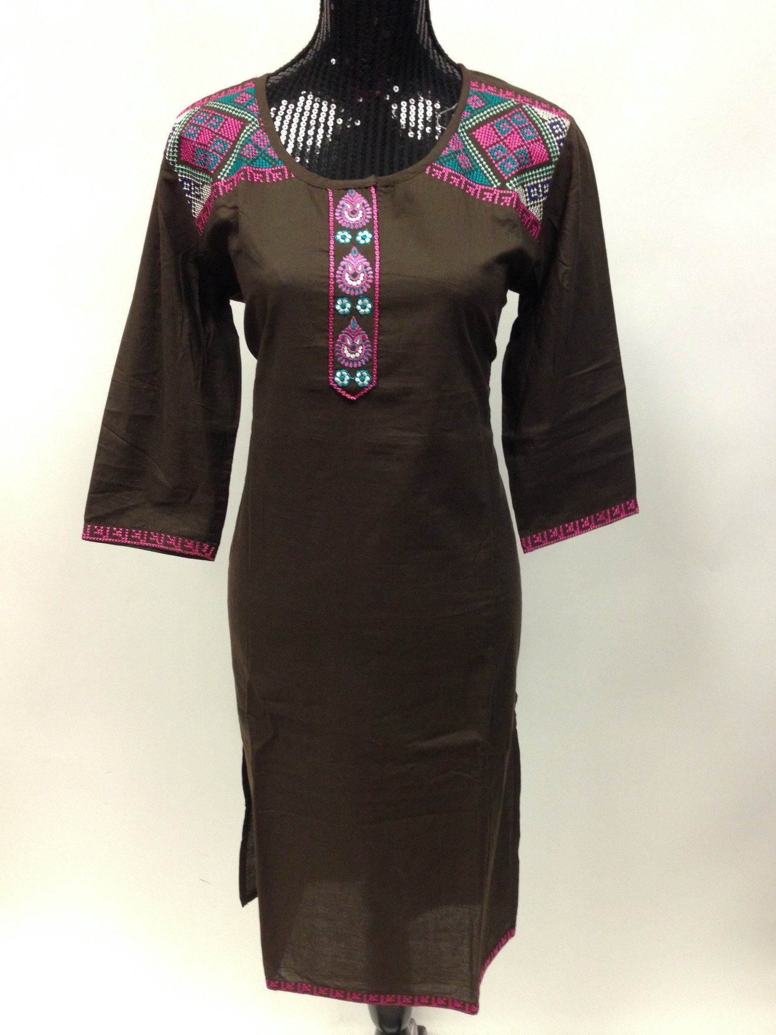 Cotton long kurta with sindhi work brown cotton and products