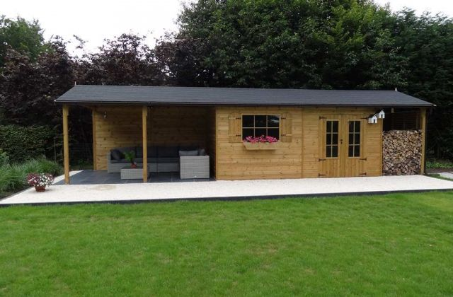 Abri de jardin en bois Lindo XL + pergola, Ep 28 mm, 14,34 m² - abri local technique piscine