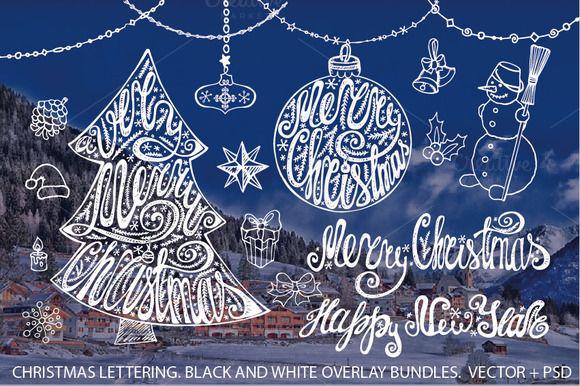 Merry Christmas Tree Lettering Set Christmas Lettering Christmas Fonts Merry Christmas Font