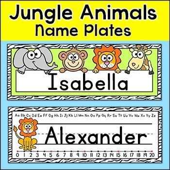 Jungle Animals Name Plates Jungle Animals Name Plate Jungle