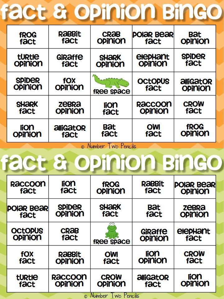 Fact \ Opinion Bingo and Other Cooperative Learning Games Animal - sample fact sheet