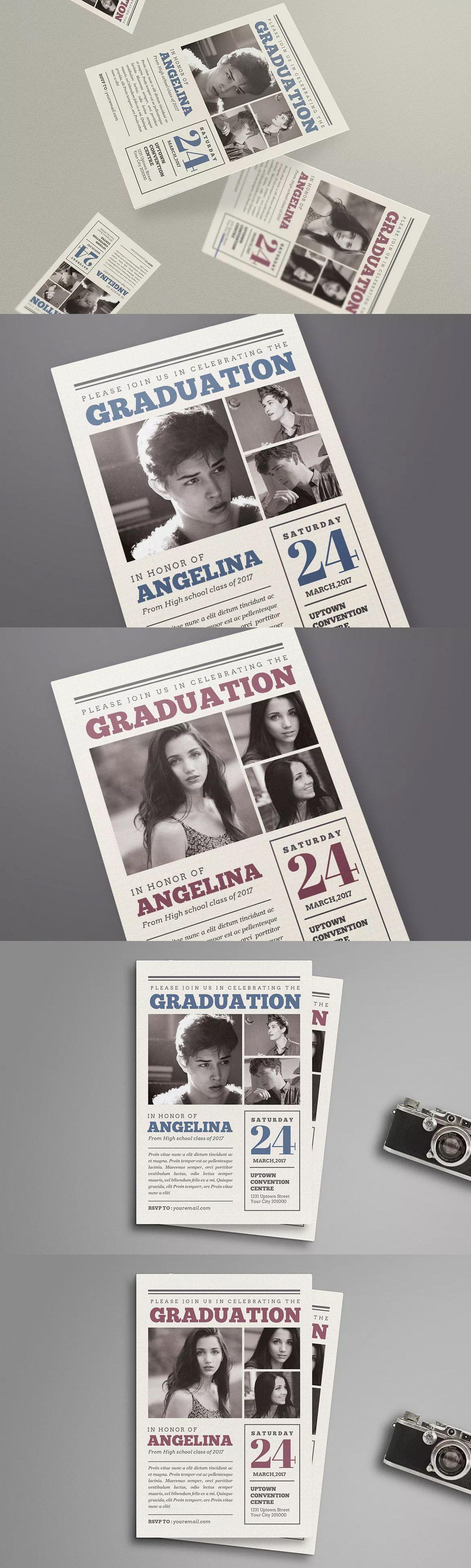 newspaper style graduation invitation template psd | invitation