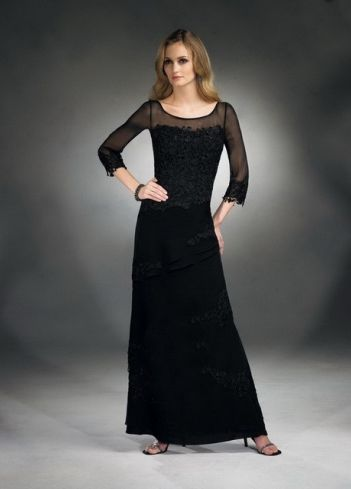 Sheath / Column Scoop Lace Long Sleeves Ankle-length Chiffon Black ...