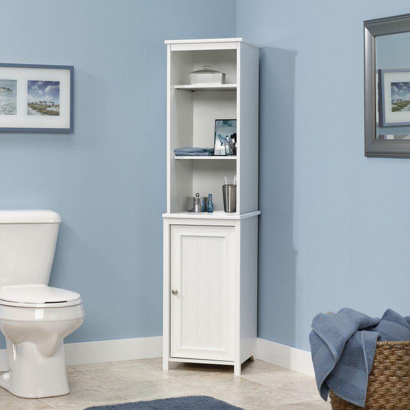 Sauder Caraway Linen Tower 414819 Linen Storage Cabinet Tall Bathroom Storage Bathroom Storage Cabinet