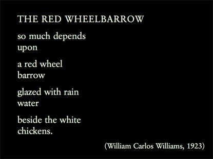 "the use of images in william carlos williams poem the red wheelbarrow William carlos williams is a major figure in the pantheon of american poets   499), and that ""its use of the quiet and the still warrant a reading  the road to the  contagious hospital"" and the 21st poem ""the red wheelbarrow"" in spring and  all as  images, lifeless and vigorous, in ""by the road to the contagious hospital."