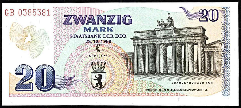 German Demokratic Republik East Germany 20 Mark Gedenkbanknote