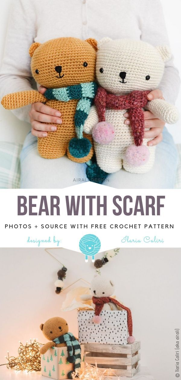 Bear With Scarf Free Crochet Pattern #crochetbear