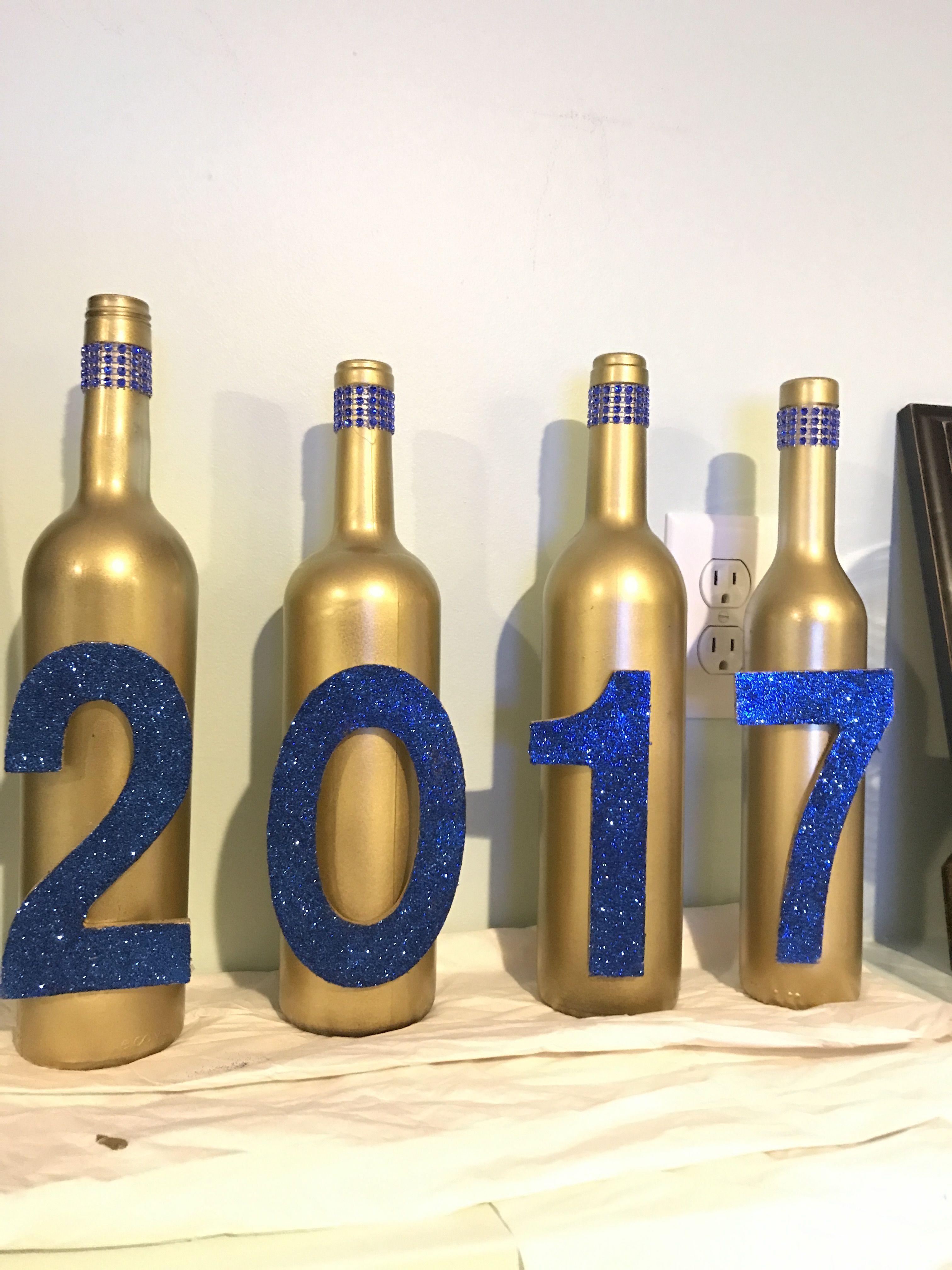 Wine Bottle Graduation Decoration #2017 #Graduation #Blue ...