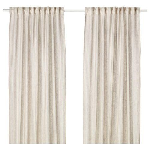 Vilmie Linje Curtains 1 Pair White Dark Gray 57x98
