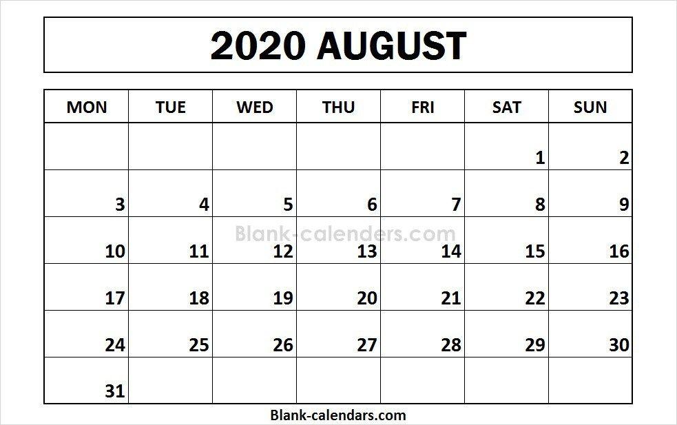 Printable August 2020 Calendar Monday Start Calendar