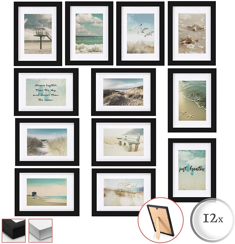 Bomoe 12er Set Bilderrahmen Ocean Bilder Collagen Fotorahmen Aus Holz Plexiglas Metall Wandaufhangung Stand Aufstel In 2020 Fotorahmen Bilderrahmen Set Bilderrahmen