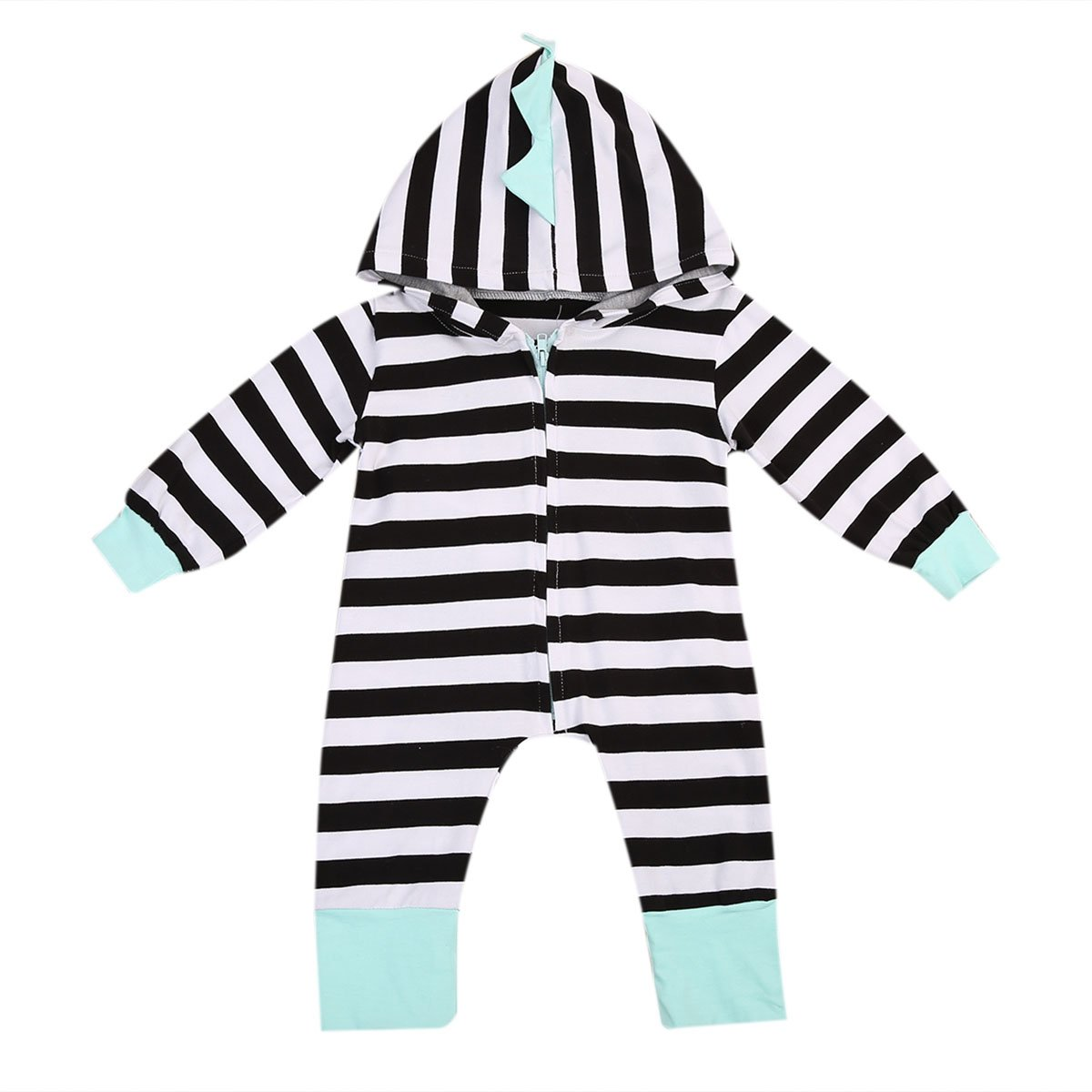 9218b9ab16f Dinosaur Hooded Striped Zipper Romper. Made of cotton with full sleeve and  covered button closure.