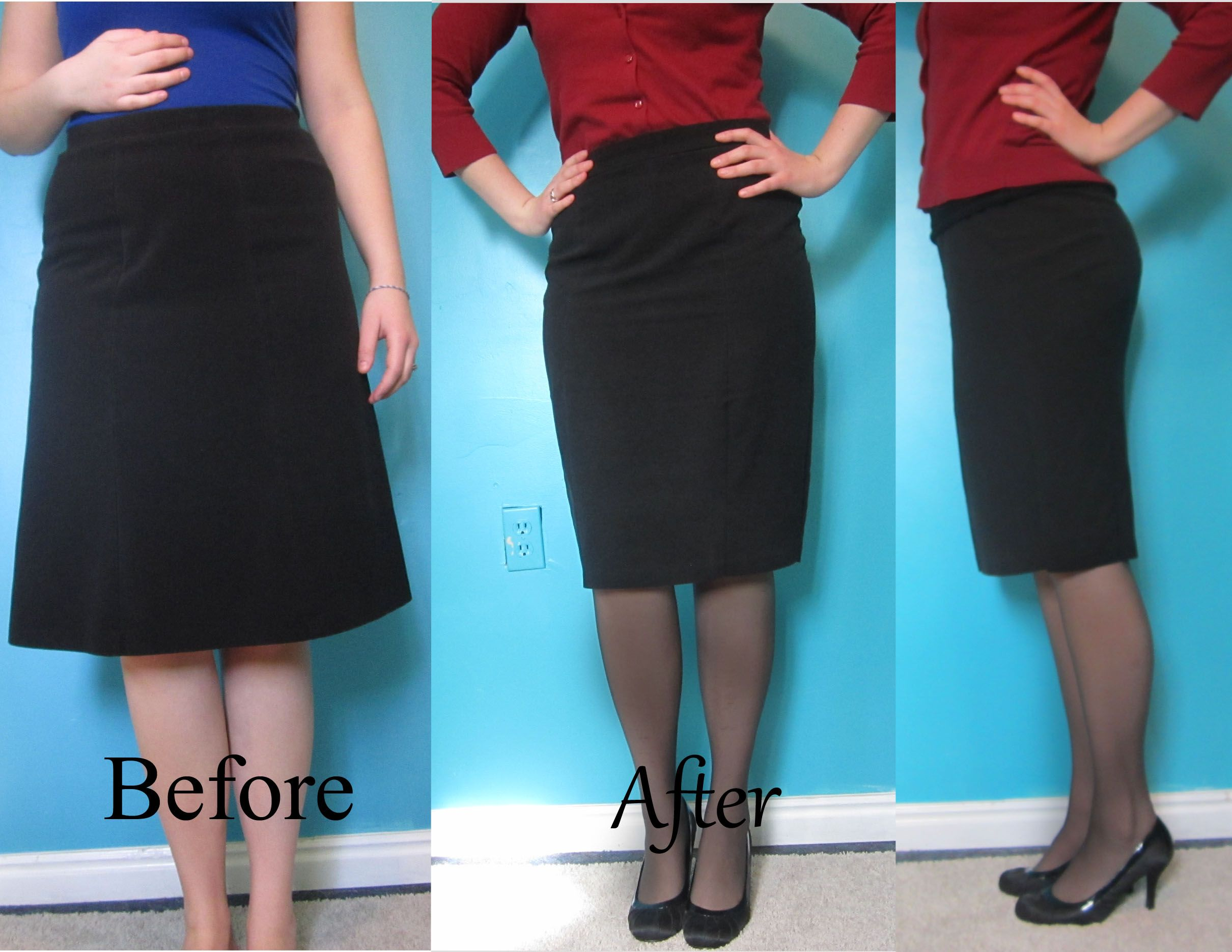 A-line skirt refashioned into a pencil skirt. | Needlework ...