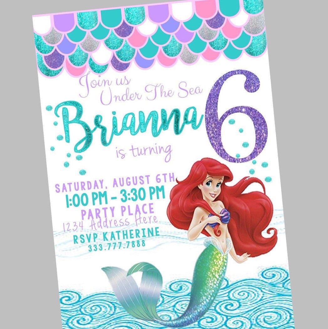 Little Mermaid Invitation Glitter Birthday
