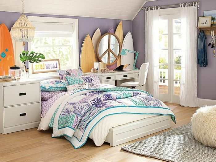 La chambre ado fille 75 id es de d coration surf bedrooms and room for Idee deco chambre fille ado