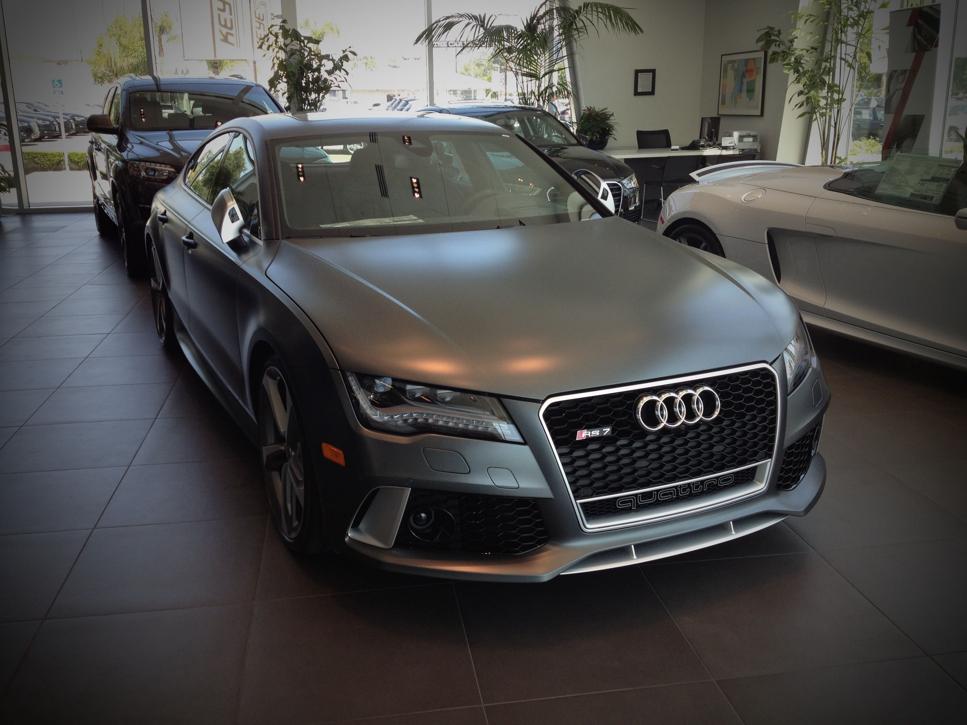"The ""Stealth Bomber"" at Keyes Audi. 2014 Audi RS7 in Matte Daytona Gray. www.KeyesAudi.com ..."