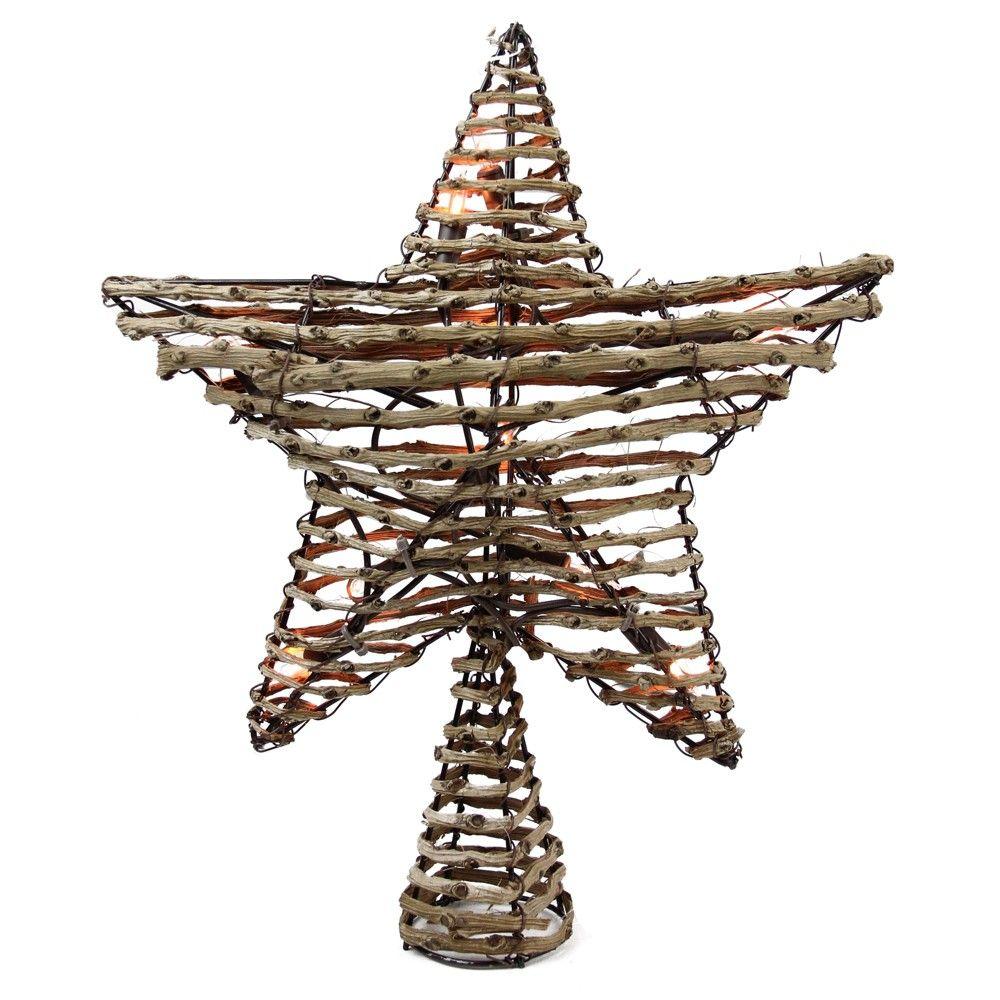 "Northlight 11.5"" Natural Brown Rattan Star Christmas Tree"
