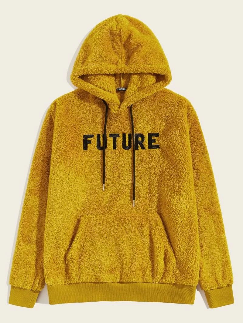 Guys Embroidered Letter Pouch Pocket Teddy Hoodie Hoodies Men Sweatshirts Mens Sweatshirts Hoodie [ 1065 x 800 Pixel ]
