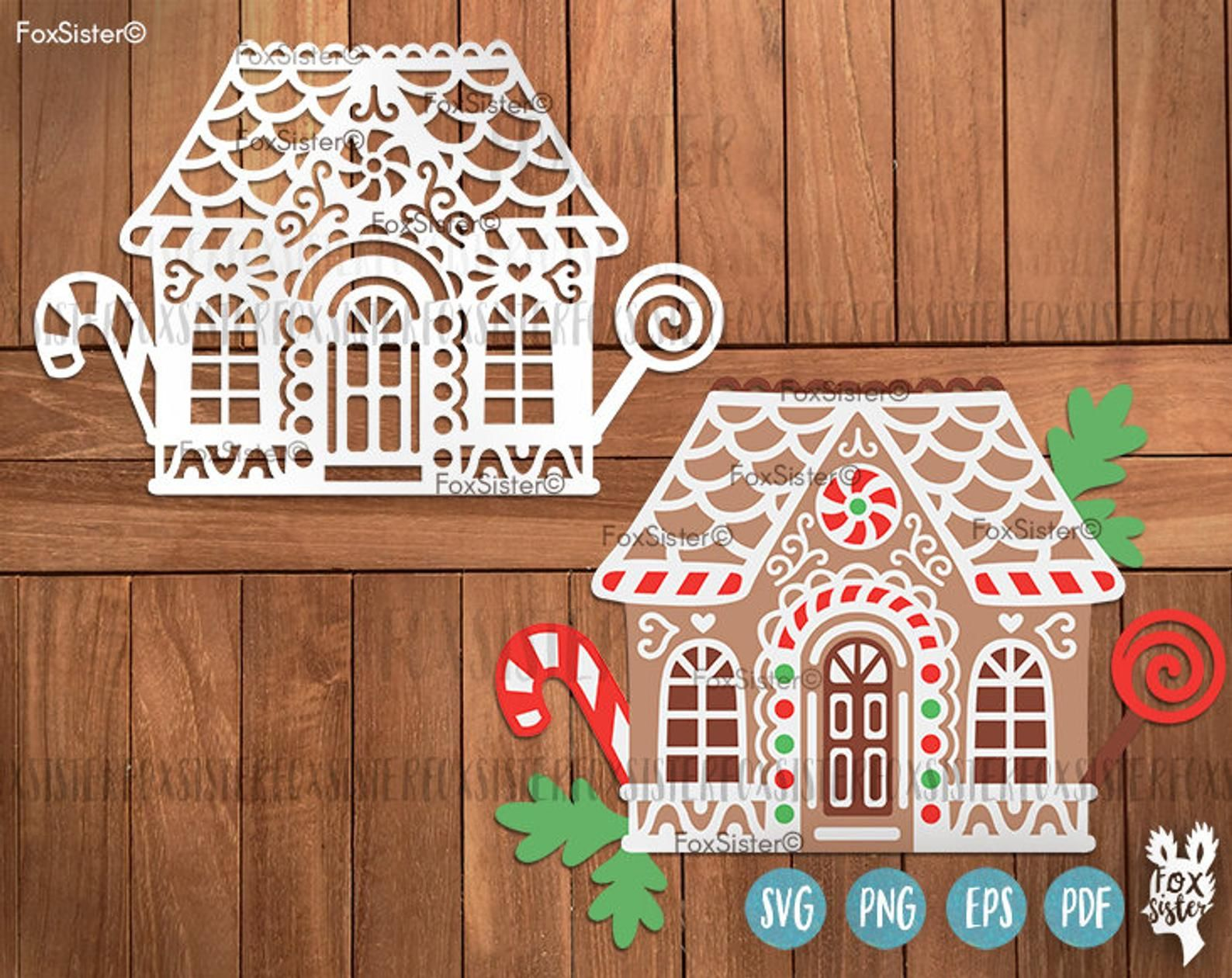 SVG Gingerbread House Christmas svg files Printable clip