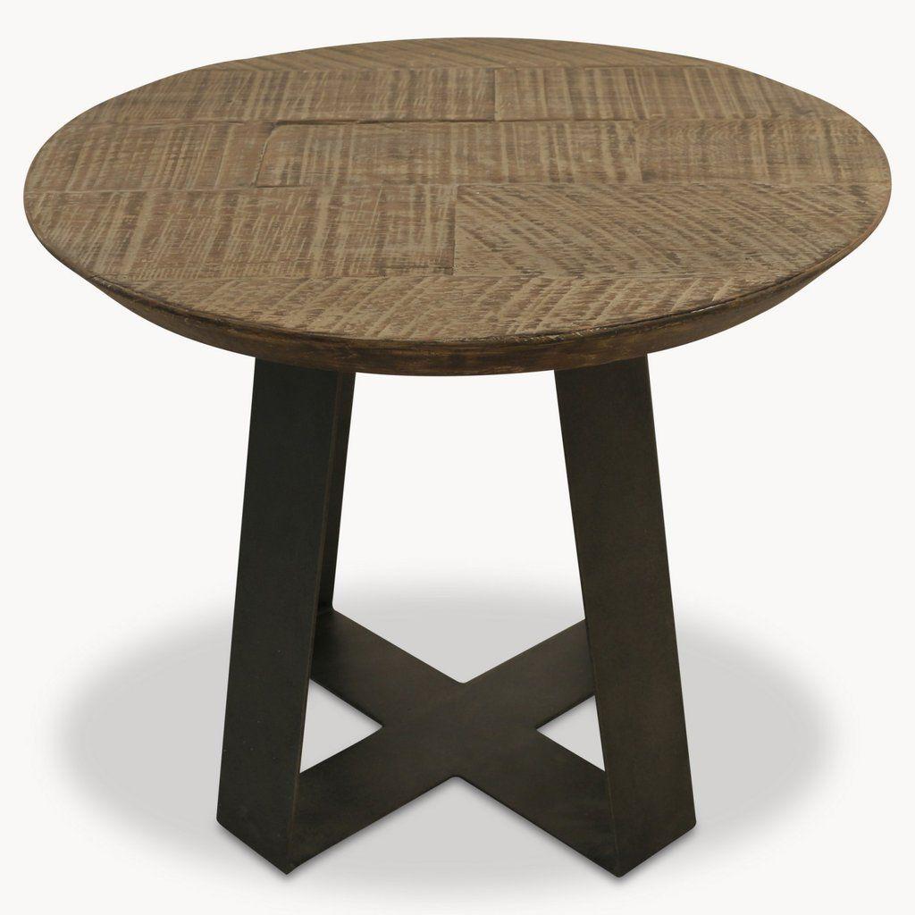 One World Woodcroft Round Oak Coffee Table On Metal Base
