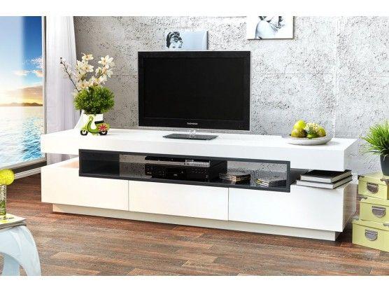 Meuble TV design blanc High Gloss Palace