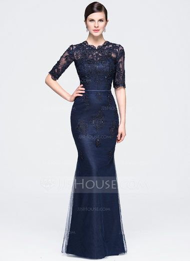 Trumpet/Mermaid Scoop Neck Floor-Length Tulle Evening Dress With Beading Appliques Lace Sequins (017071556) - JJsHouse
