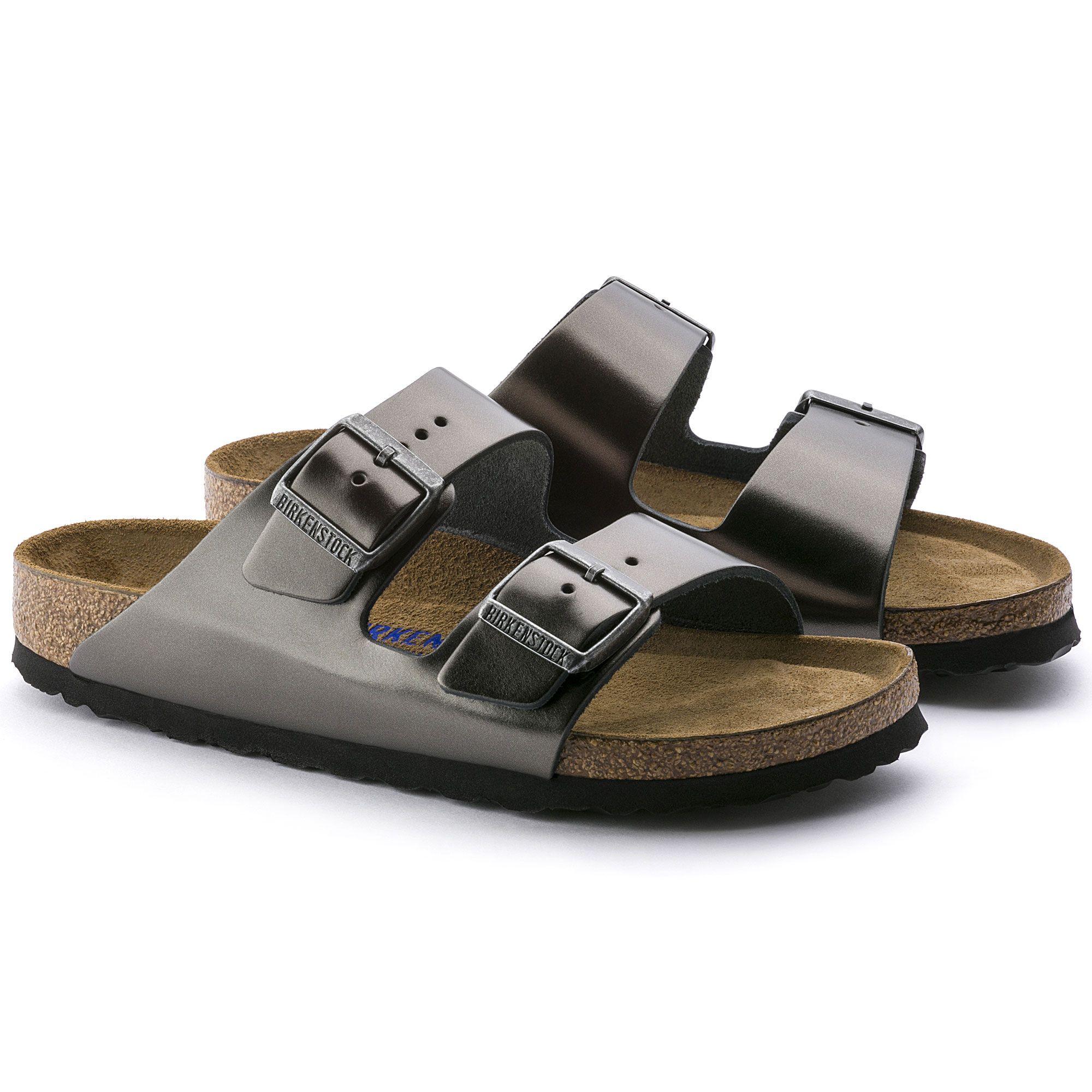 c80c3870ed433d Birkenstock Arizona Soft Footbed Sandal - Women s Metallic Anthracite  Leather 36