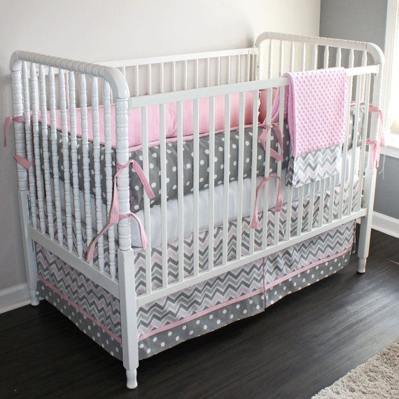 Gray Chevron Crib Baby Bedding Set
