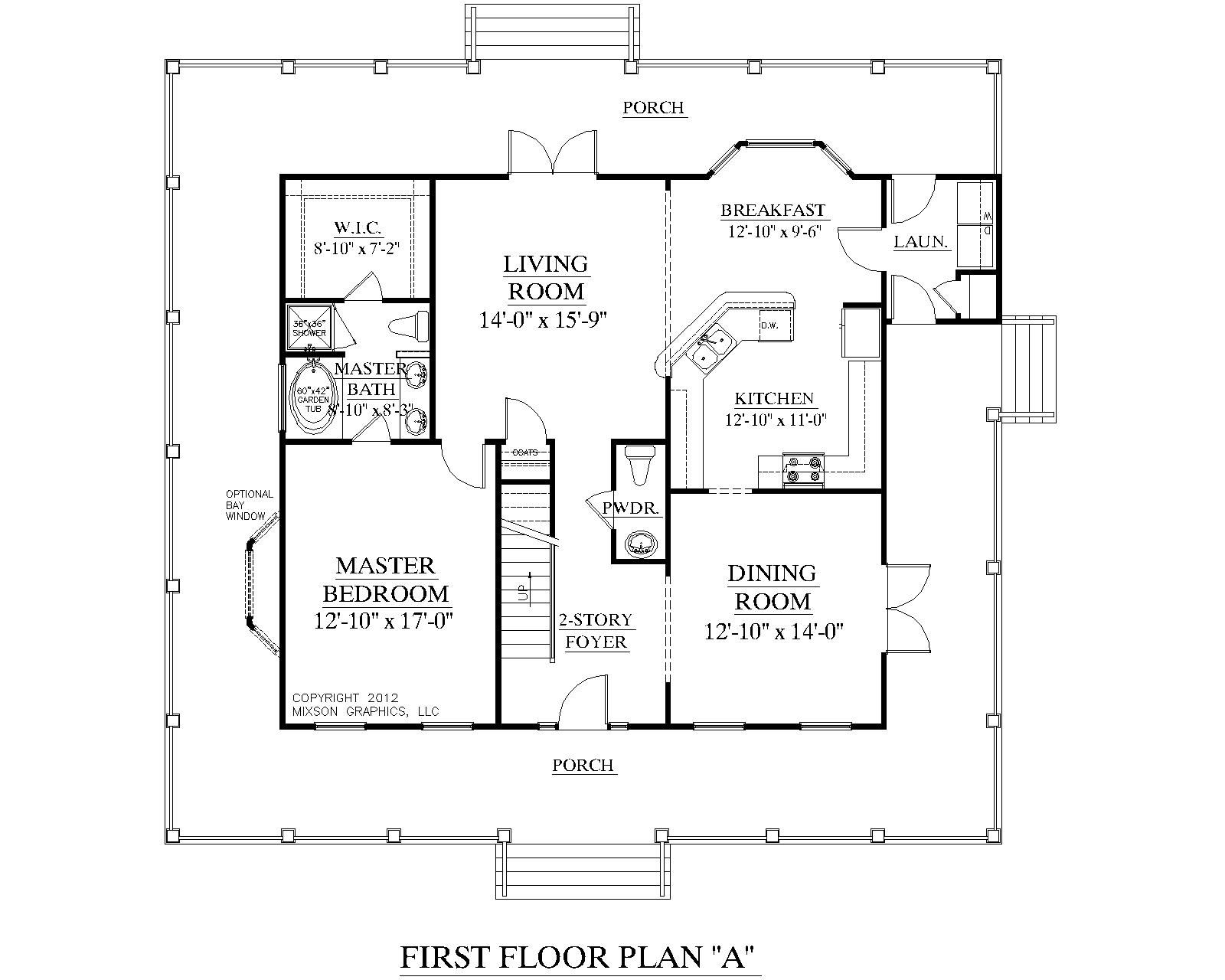 small one bedroom house plans traditional 1 12 story house plan - Single Story House Plans