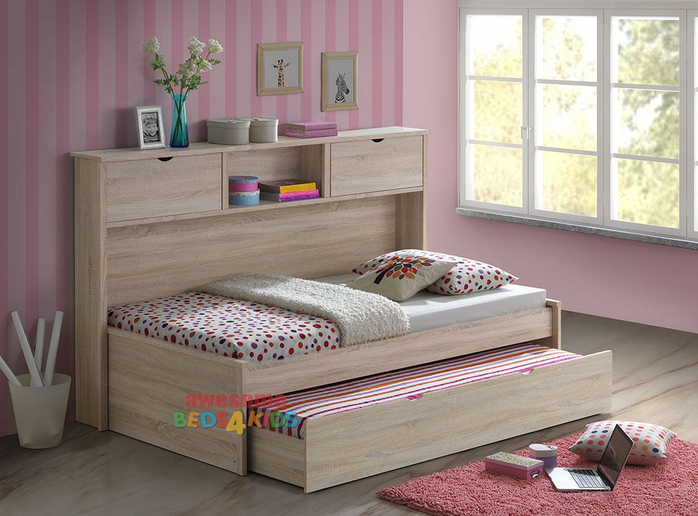 Pepito King Single Captains Trundle Bed With Bookcase Is A Very Modern And Practical Bedroom