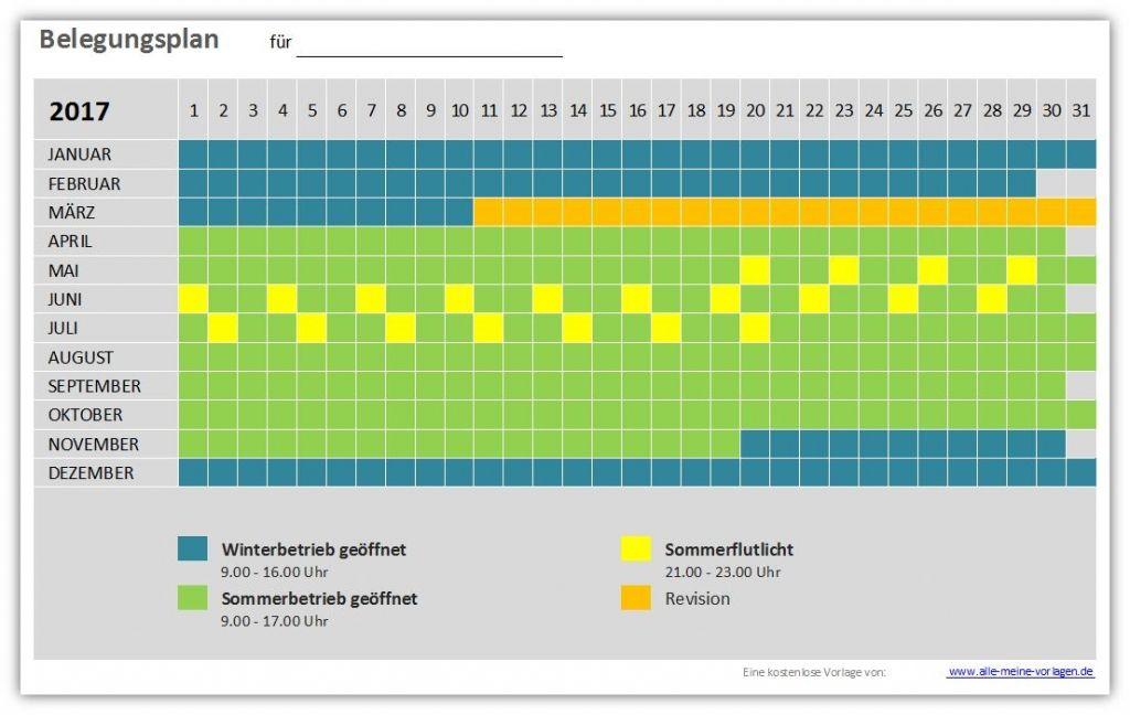 Vorlage Belegungsplan / Belegungskalender Excel vorlage