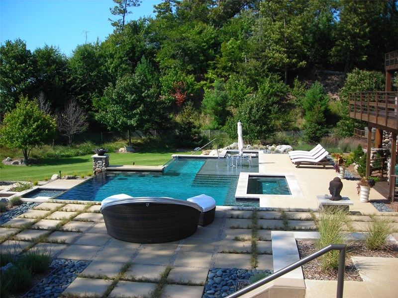 Awesome Contemporary Swimming Pool Swimming Pool Mixing Grass Between Concrete Slabs,  Pebbles U0026 Stone Coping.