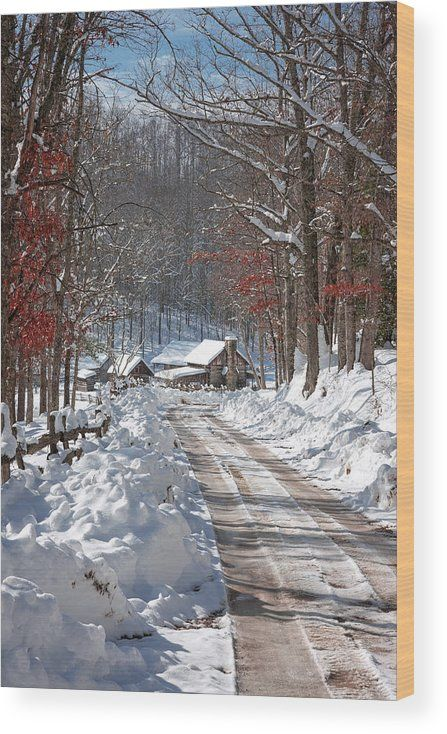 Winter Lane Wood Print by Mary Almond