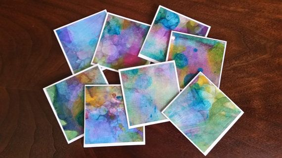Mini Alcohol Ink Note Cards Original Art by TheInspiredCrafter