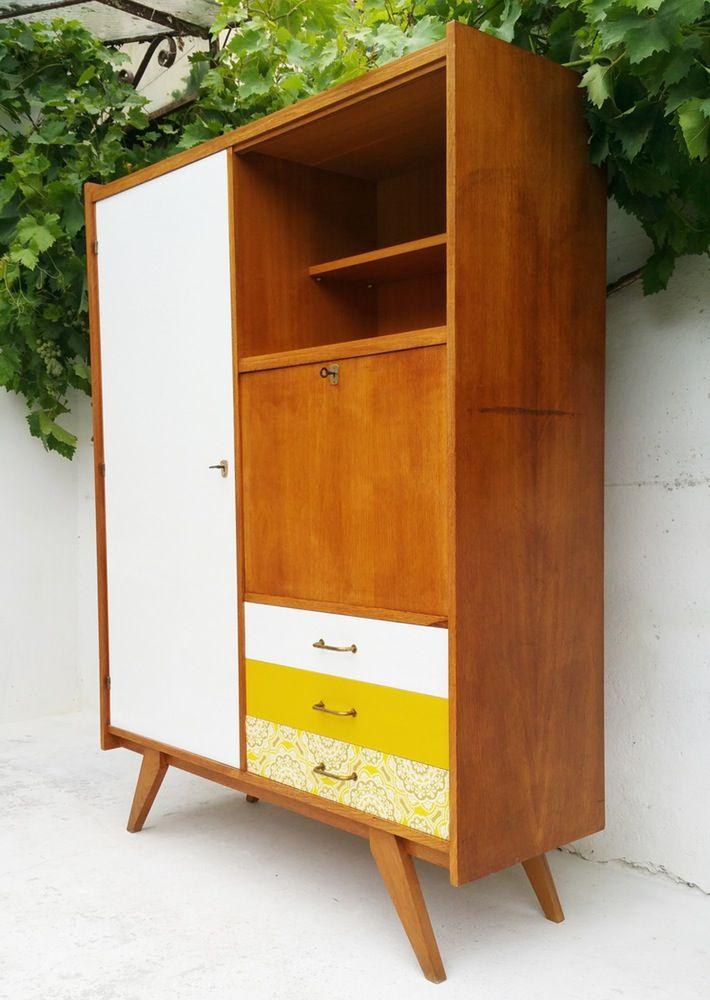 Armoire Secretaire Bois Clair Vintage Mobilier De Salon