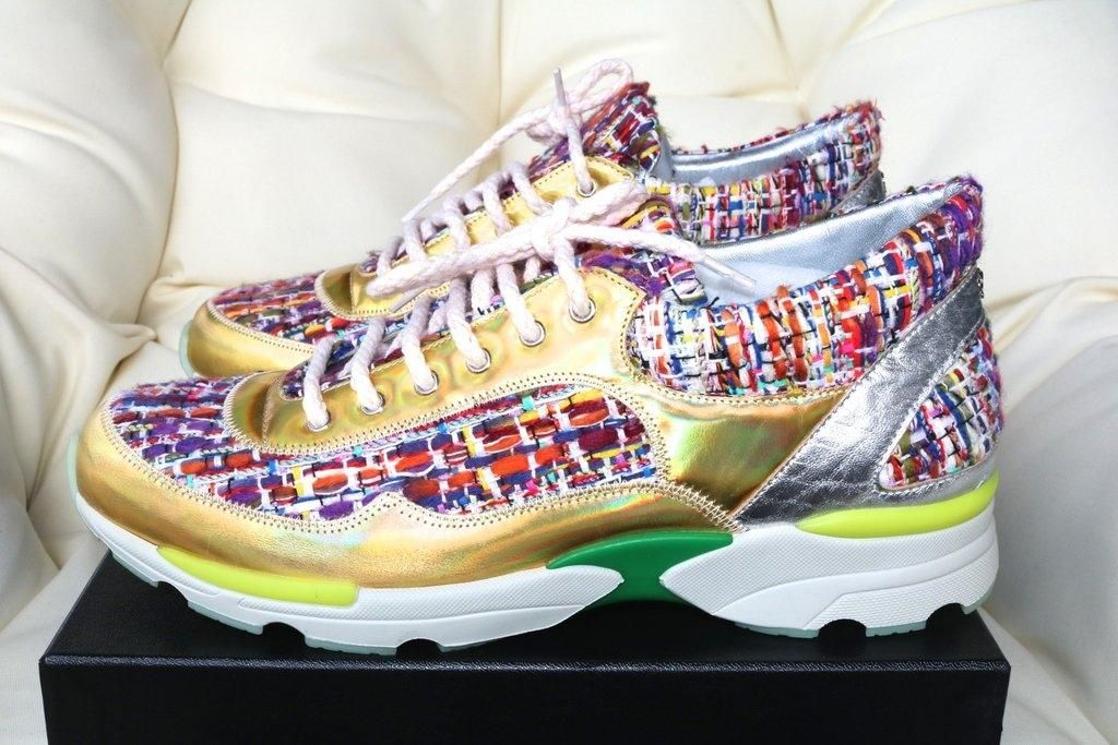 a920689debe Chanel Logo Gold Tweed Sneakers Tennis Trainers 39 Multi-Color Athletic  Shoes. Get the must-have athletic shoes of this season! These Chanel Logo  Gold Tweed ...