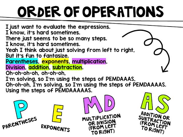 Miss 5th Order of Operations (PEMDAS) Song Lyrics Order
