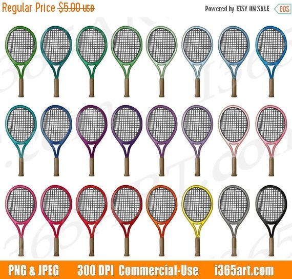 50 Off Tennis Racket Clipart Tennis Clip Art Sports Equipment Tennis Game Olympics Fitness Exercise Planner Sticker Commerci Etsy Shop Finds Tenni