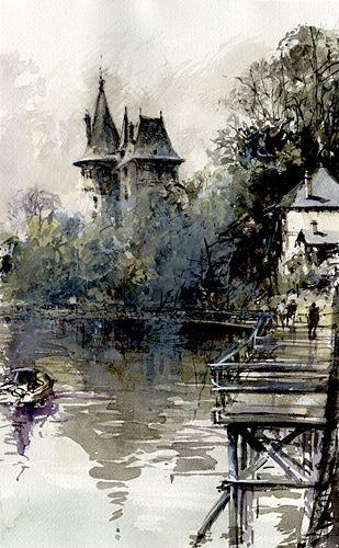 Pornic Fog Flickr Akvarelnaya Zhivopis Pejzazhi Akvarelnyj