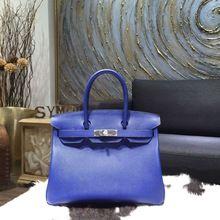 Hermes Birkin 30cm Epsom Calfskin Bag Handstitched Palladium Hardware, Electric Blue 7T